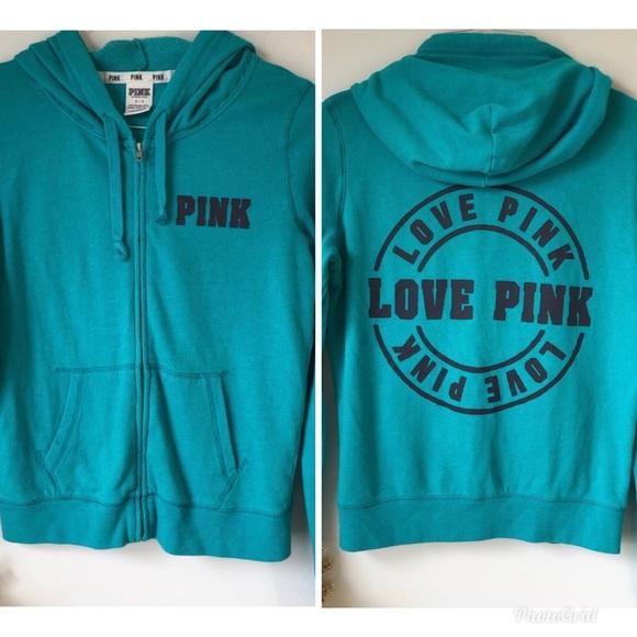 PINK Victoria's Secret Tops - PINK Victoria's Secret Full Zip Teal Blue Hoodie S